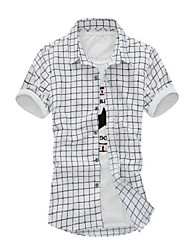 Men's Casual Checks Pattern Short Sleeve Shirts