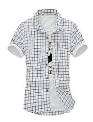 Camicia Uomo Casual Scozzese e a quadri Manica corta Cotone