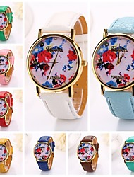 Women   Ink Painting Rose Printing  Pu Leather  Brand Luxury Lady Bracket Dress Wristwatch (Assorted Colors)C&D-206