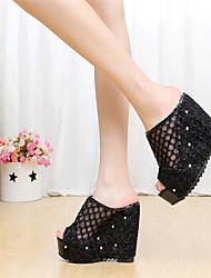 Women's Shoes Wedge Heel Peep Toe Sandals Dress Black/Beige