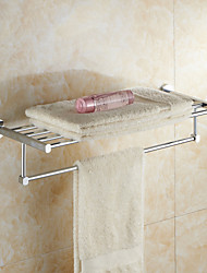 Modern Chrome Finish Solid Brass Material Bathroom Shelves