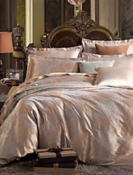 jacquard de luxe situé soie literie en coton 4pcs feuille couette satin housse de couette de lit literie ensemble taie
