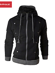 MANWAN WALK®Men's Casual Slim Stitching Zipper Cardigan Hoodie with Double Breasted Decoration.