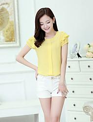 Women's Blue/Yellow/Purple Blouse Short Sleeve