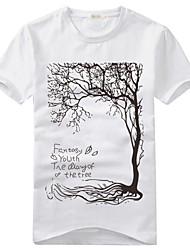 Tee-Shirt Pour des hommes A Motifs Décontracté Manches Courtes Coton / Mélange de Coton Noir / Blanc / Gris