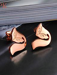OPK®Cute Little Fox 18 K Rose Gold Plating Titanium Earrings