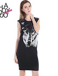 Women's Black Dress , Bodycon/Casual/Print Sleeveless