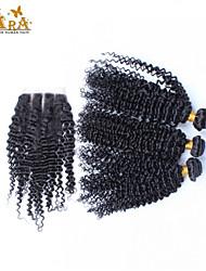 Trama do cabelo com Encerramento Cabelo Peruviano Kinky Curly 3 Peças tece cabelo