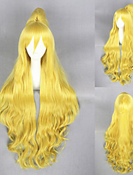 40inch Long Wave Orenchi no Furo Jijou Yellow Synthetic Anime Cosplay Ponytail Wig