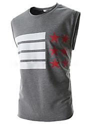 Informeel Rond - MEN - T-shirts ( Katoenmengeling )met Mouwloos