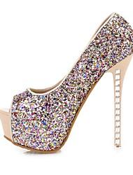 Women's Shoes Fabric/Glitter Stiletto Heel Heels/Peep Toe/Platform/Slingback/Round Toe Pumps/Heels Office & Career