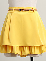 Women's Casual Micro Elastic Medium Above Knee Skirts (Polyester)