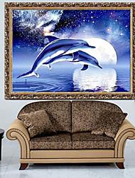 um golfinho kits bordados à mão vivendo diamante quarto ponto cruz decoração da casa parede bordados 40 * 30 centímetros