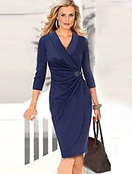 Robes ( Coton mélangé/Polyester ) Sexy/Bodycon/Informel/Soirée/Travail Col V à Manche 3/4 pour Femme