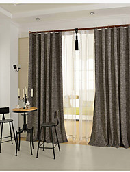 One Panel Grey Solid Linen / Cotton Blend Panel Curtain