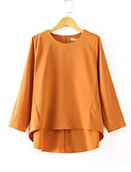 Women's Casual Pure Color Top Shirt Chiffon Blouse