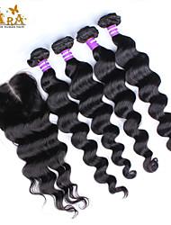 "10 ""26"" peruanisches reines Haar lose Welle Menschenhaareinschlagfaden mit Spitzen Verschluss Farbe Natur schwarz Babyhaar"