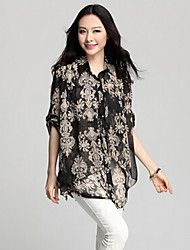 TS Women's Simplicity Vintage  Inelastic Print Loose Long Sleeve Layer Asym Hem Shirt (Chiffon)