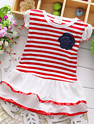Girl's Summer Micro-elastic Thin Short Sleeve Dresses (Cotton)