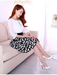 Women's White/Black Dress , Casual Round Neck ½ Length Sleeve Button