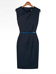 Women's Vintage/Sexy/Casual/Party Micro-elastic Sleeveless Knee-length Dress (Chiffon)