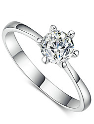 T&C Women's 18k White Gold Plated Classic 6 Prong Sparkling Solitaire 1ct Cz Wedding Ring