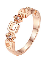 HKTC Concise Hollow Square Crystal Ring 18k Rose Gold Plated Austrian Crystals Jewelry