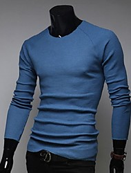 Men's Casual Pure Long Sleeve Regular Pullover (Cotton/Wool)