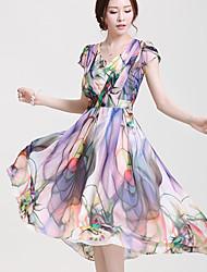 Women's Beach Plus Size Dress,Print U Neck Maxi Short Sleeve Multi-color Summer