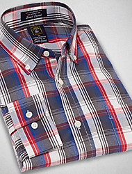 U&Shark New Hot! Men's Soft Business 100% Cotton Long Sleeve Shirt with Red Blue Black Check/MSX010
