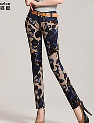 SANFENZISE Women's Casual Print  Denim Pants
