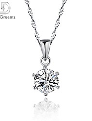 Poetry Dreams Solid Sterling Silver Solitaire Pendant with 18'' Sterling Silver Necklace