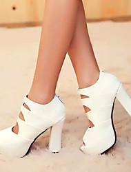 Pumps/Heels ( Caoutchouc/Simili Cuir , Noir/Blanc ) Gros talon - 10-12cm pour Chaussures femme