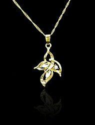 18K Real Gold Plated Zircon Flower Pendant Necklace