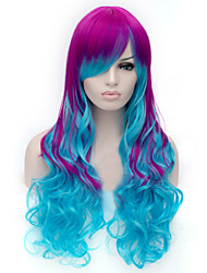 European and American Fashion Cartoon Purple Double-Color  Curly Hair Wig