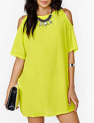 Women's White/Black/Yellow Round Neck Dress, Chiffon Above Knee Short Sleeve