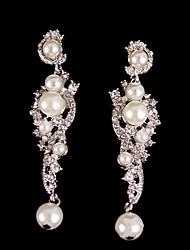 Pendiente Pendientes Solitario Plata/Perla/Aleación Cristal De mujeres