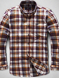 U&Shark New Hot! Men's Sanded 100% Cotton Leisure Flannel Long Sleeve Shirt with Blue Cooffe White Check/QFL010