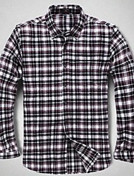 U&Shark New Hot! Men's Casual 100% Cotton Flannel Long Sleeve Shirt with Purple White Black Check/QFL017