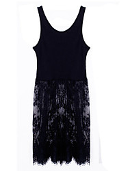 Women's Lace Inelastic Sleeveless Above Knee Dress (Lace)