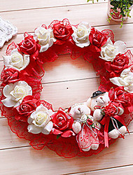 "13.8"" Rural Style Red White Simulation Flower Garland with Toy Bears Plastic Circle Garland"