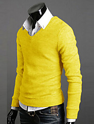 Men's Fashion V-Neck Color Sweater,High Quality California Rabbit's Cashmere Hot Selling