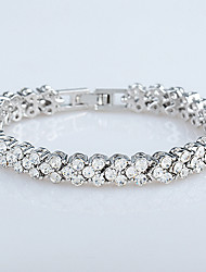 Casual Gold Plated / Cubic Zirconia Link/Chain Bracelet