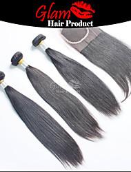 """3 ps 8 """"-28"""" cheveux regroupe w / 1 pc 8 """"-18"""" partie libre fermeture cheveux malais # 1b cheveu humain droite avec fermeture"""