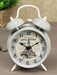 "Exclusive Design Vintage 4""Dial Twin Bell Mute Alarm Clock Special Grey Color Clock Retro Eiffel Tower Dial"