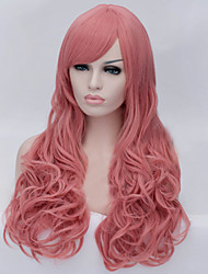 The New Cartoon Color Wig Smoke Pink Inclined Bang Curly Hair Wigs