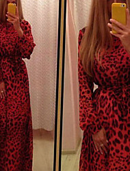 VICONE Women's Sexy Leopard/Party Long Sleeve Dresses (Chiffon)