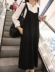 De las mujeres Vestido Midi Escote Chino - Algodón - Sin Mangas
