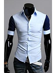 Men's Short Sleeve Shirt , Cotton Blend Casual/Work/Sport Pure
