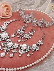 Schmuck-Set Damen Hochzeit Schmuck-Set Legierung / Strass Strass Halsketten / Ohrringe / Tiara Silber